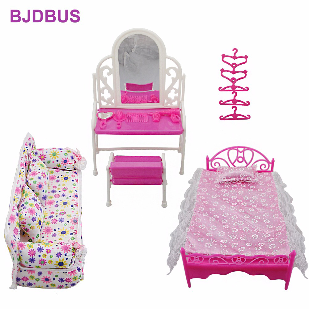 8 Items / Lot = 1x Cloth Sofa + 1x Dressing Table + 1x Bed + 5x Hanger Clothes For Barbie Doll Furniture Accessories Kids