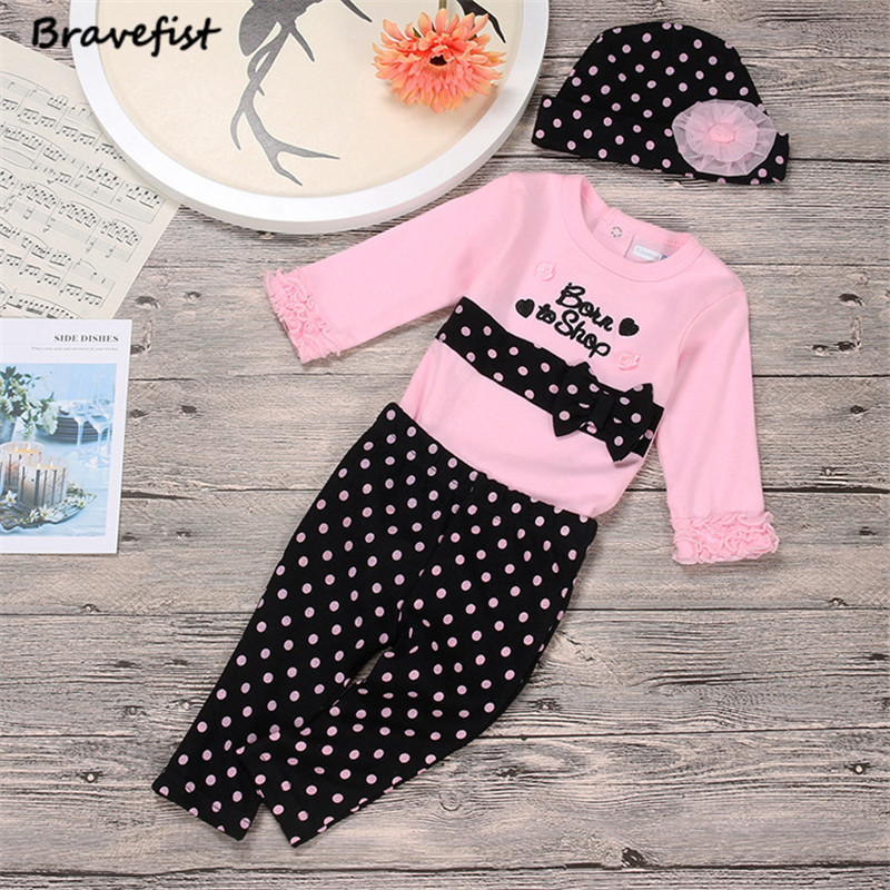 3Pcs/Set Spring Autumn New Baby Girl Clothes Set Cotton Long-Sleeved Romper + Trousers + Hat 3 Newborn Baby Girl Clothes Set