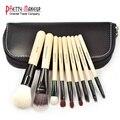 TOP Qualidade! profissionais 9 PCS Cosméticos Pincéis de Maquiagem Conjunto com o Saco de Couro Preto Zipper, marca Make Up Brushes, vendas por atacado
