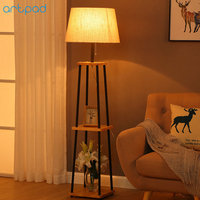 Artpad American Style Wood Floor Lamp Fabric Lampshade E27 LED Floor Light For Living Room Study Bedroom Lighting EU/US Plug in