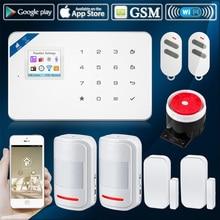 2017 W18 WIFI GSM SMS Home Burglar Security Alarm System anti-pei PIR Motion detector Touch Screen Alarm Panel APP Control
