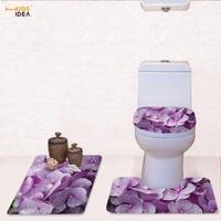 HUGSIDEA Beautiful Flower 3D Printing Toilet Seat Cover Bathroom Ground Mat Anti Slip Rugs Decorate Soft Carpet Three Piece Sets