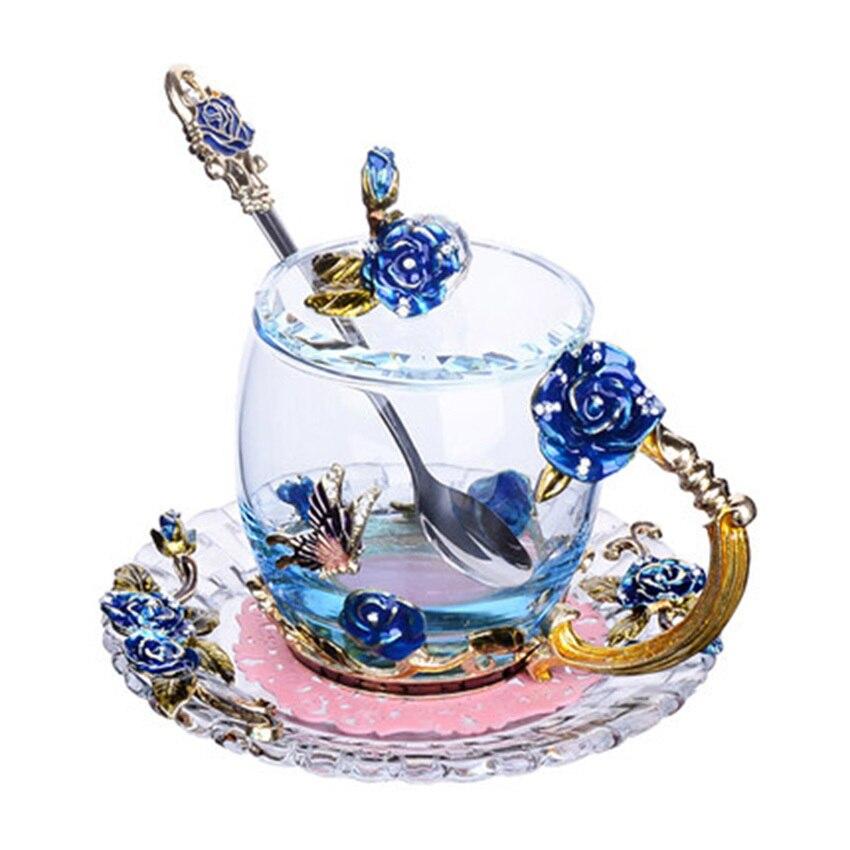 GFHGSD Couleur Émail Verre Bleu Rose Café Tasse Poignée et Strass Décoré De Fleurs Conception Potable Tasses En Verre Avec couvercle
