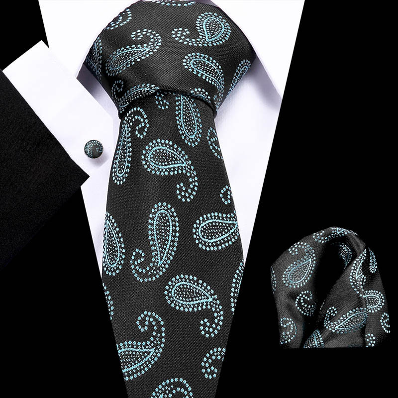 Fashion Green paisley Men Gifts Tie  Hanky Cufflinks 145cm Long for Wedding Party Business Set