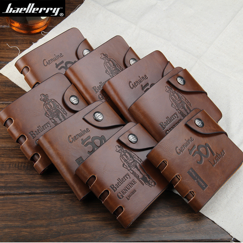 Baellerry Baellery Retro Men Wallet With Hole Hasp Purse High Quality PU Leather Luxury Brand Logo Designer Short Wallets Purse  mens wallet fashion retro wallet luxury brand hasp leather purse men wallets 2016 new famous brand designer short wallet