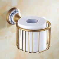 Antique Copper Brushed Paper Holder Brass Finish Bathroom Accessories Porcelain Paper Holder Sets Toilet Roll Holder