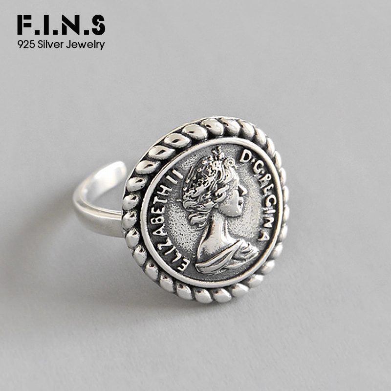 F.I.N.S Vintage Old 925 Sterling Silver Rings For Women Retro Round Elizabeth Portrait Finger Ring Female Costume Fine Jewelry