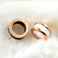 Silver Gold Rose Gold Color 316L Stainless Steel Bulgaria Rings Black White Ceramics Luxury Brand Jewelry