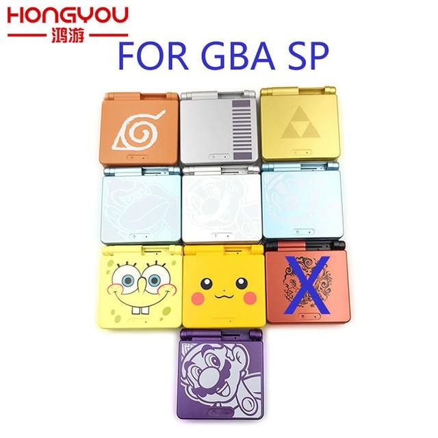 10 zestawów dla GBA SP pokrywa konsoli do gier Cartoon edycja limitowana pełna osłona zamiennik dla Gameboy Nintendo Advance SP