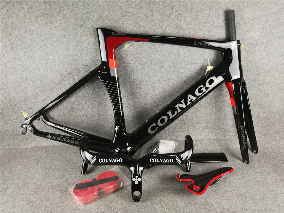 Red Colnago Concept Carbon Frame +  Colnago handlebar and Red Colnago Saddle  DI2 carbon bike frameset