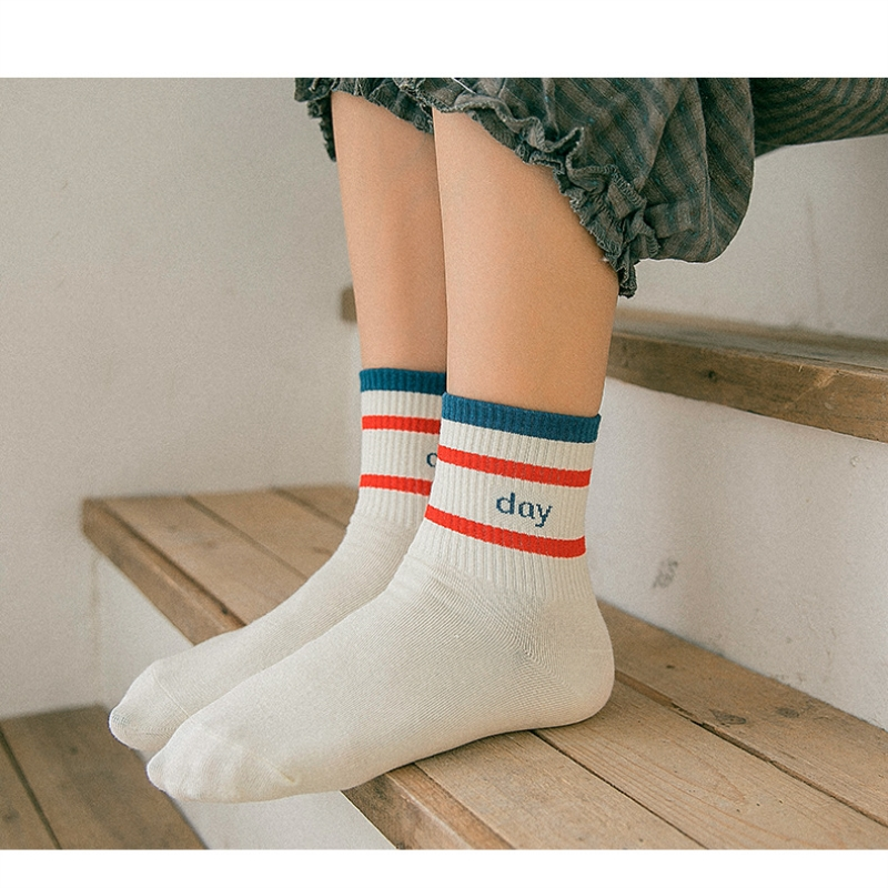 1 Pair New Women Socks 2019 Short Striped Letter Cotton Solid Color Women Fashion Ankle Socks For Women