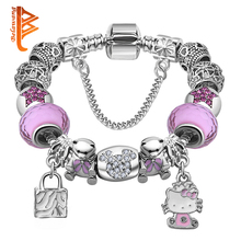 Lovely Girls Jewelry Silver Plated Women Bracelet Pink Blue Murano Glass Beads Crystal Hello Kitty Charms