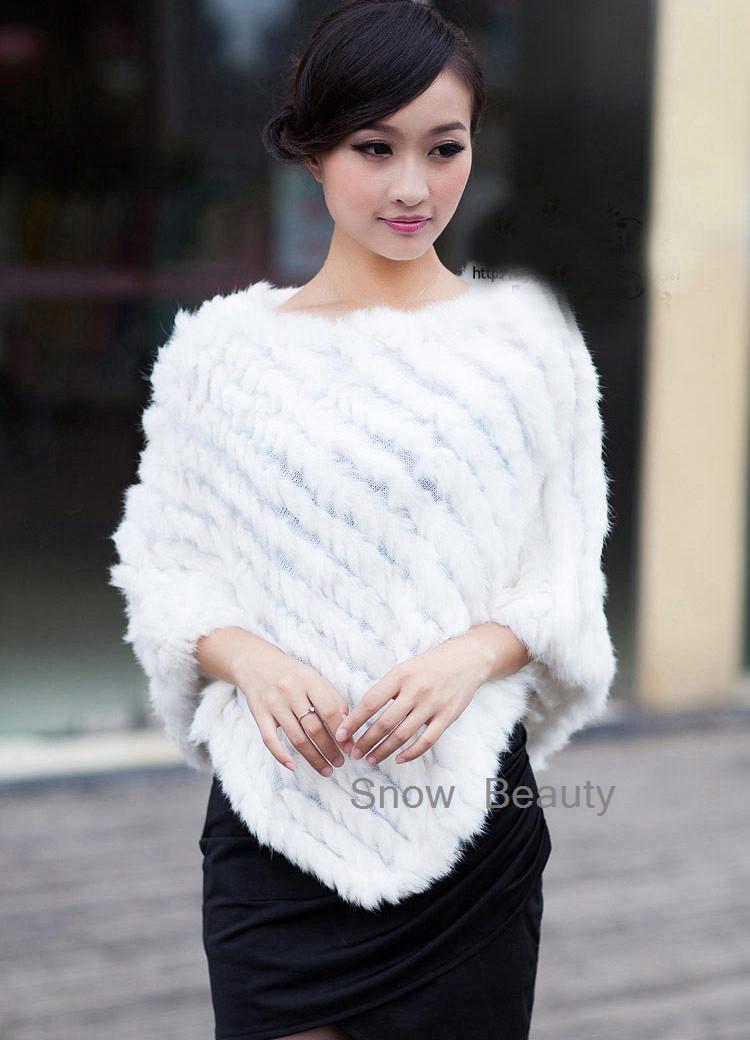 natural real knitted rabbit fur poncho shawl (3)