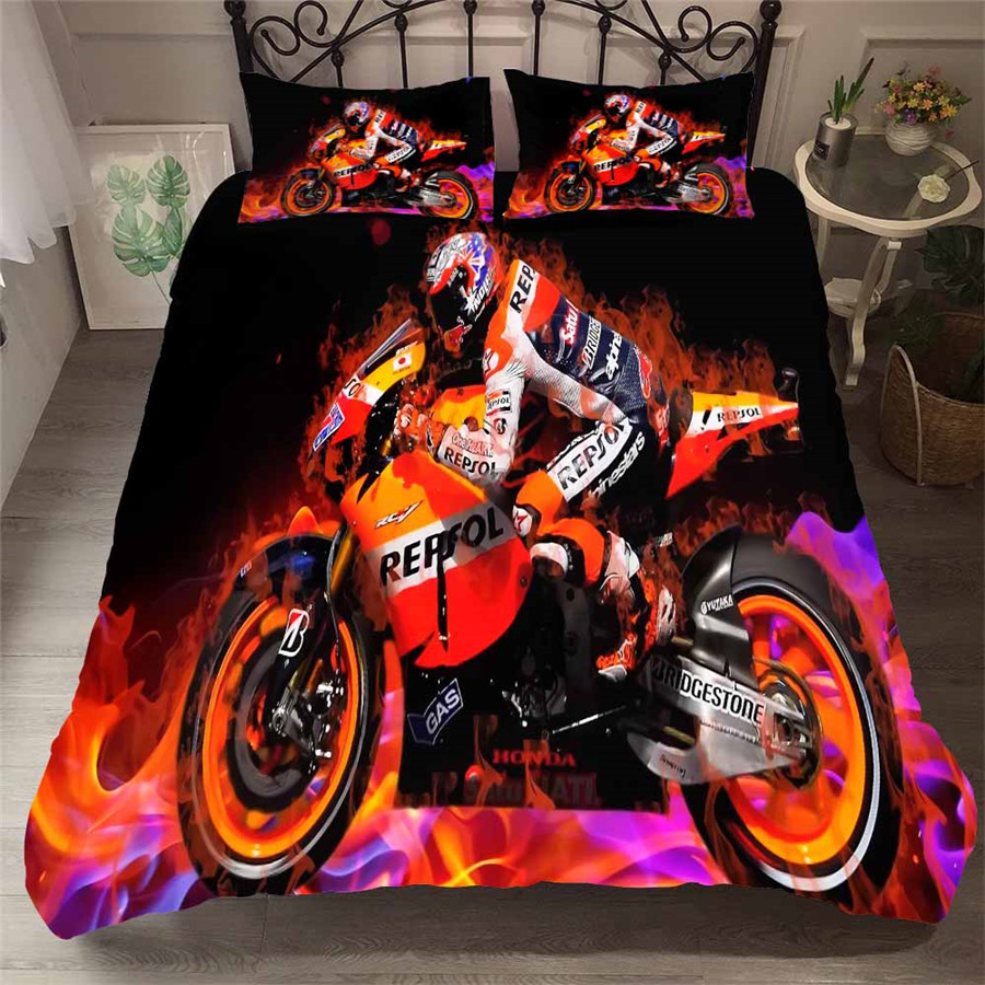 HELENGILI 3D Bedding Set Motorcycle Print Duvet Cover Set Bedcloth With Pillowcase Bed Set Home Textiles #MTC-02