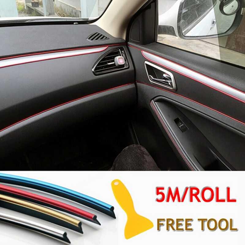 5 M Universale car Interior Decoration Striscia Dashboard Porta Bordo Linea di Bordo di Protezione Chrome Pannello Stampaggio Accessori
