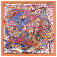 Large Square Scarf Women S Mongolian Yurt Printed Hijab Luxury Brand Scarves Accessories For Ladies Dress