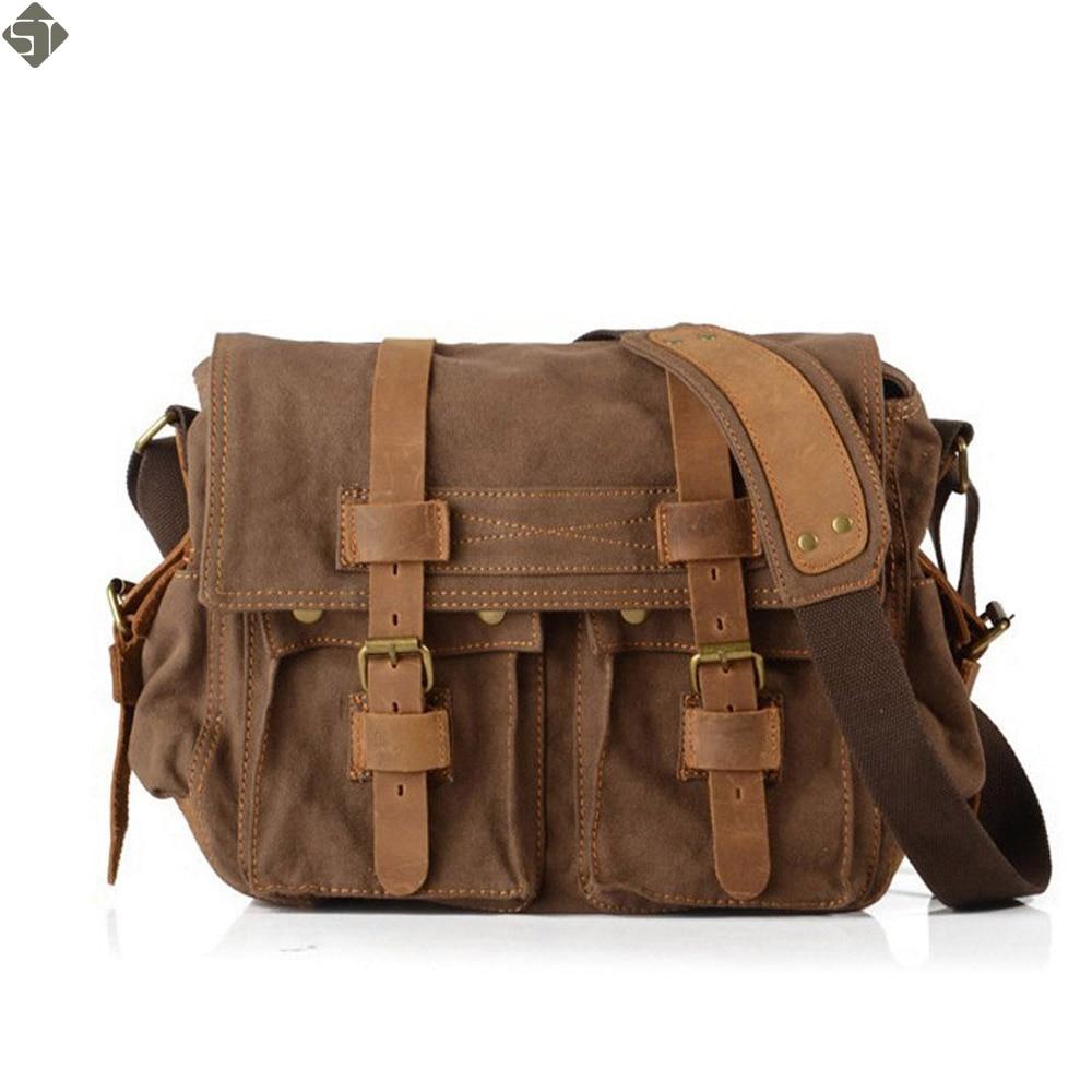 FUSHAN High Quality Men Canvas Bag Casual Travel Men's Crossbody Bag Luxury Men Messenger Bags Vintage shoulder bags