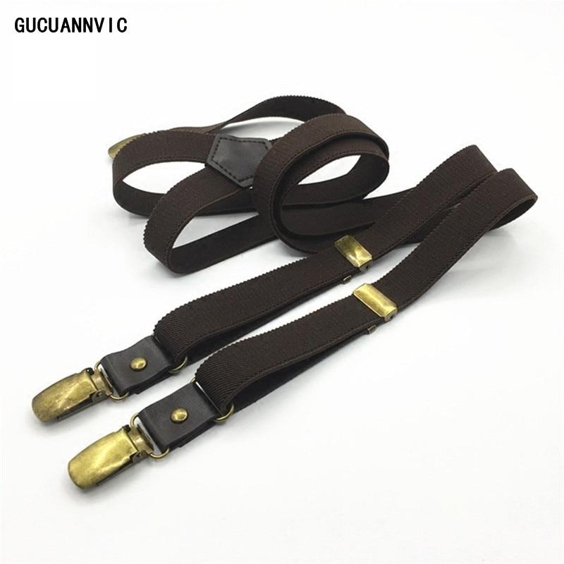 GUCUANNVIC Braces Brown 3 Clip Buckle Suspenders Men Leather Link Bronze Clip Original Retro Shirt Holder DK119