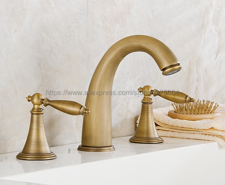 Antique Brass bathroom faucet for hot and cold Mixer tap Sink faucet Double handle 3 hole bathroom basin faucet Nnf434 phasat 907 retro arched 3 hole dual handle bathroom sink faucet antique brass