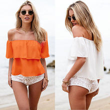 цена на Blouses Promotion Polyester Fashion None Short Plus Size 2018 Sexy Women Off Shoulder Low Back Peasant Chiffon Shirt Blouse Top