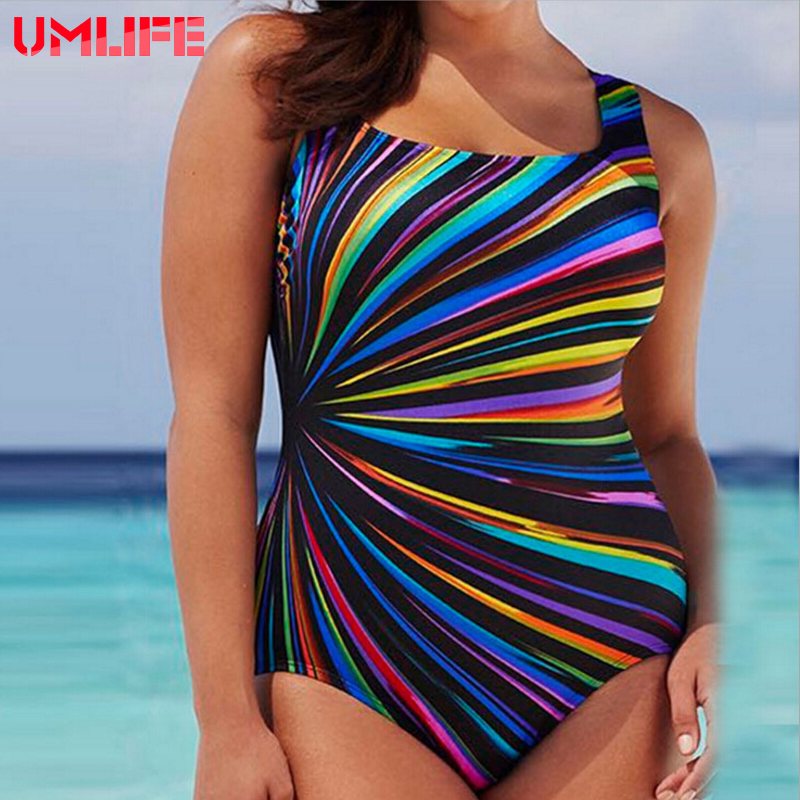 UMLIFE 5XL Large Big Plus Size Swimwear For Women Sexy One Piece Swimsuit Print Solid Push Up Beach Bathing Suit Bodysuit 2018 women plus size s 5xl swimsuit print sexy split boxer swimsuit two piece bathing suit summer beach swimwear