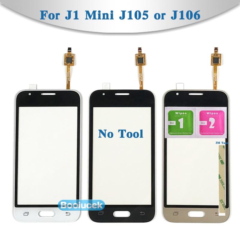 Panneau de verre extérieur pour Samsung Galaxy DUOS J1   4.0 pouces, Mini J105 et J1 Mini Prime J106, capteur de numériseur décran tactile, panneau dobjectif