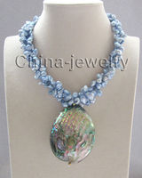 17 inch 3row blue keshi reborn freshwater pearl necklace Abalone shell pendant