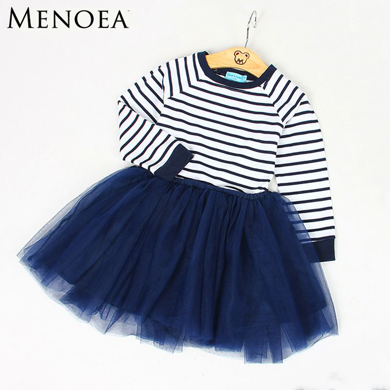 Menoea Autumn Girls Dress 2017 New Casual Style Striped  Girls Clothes Long Sleeve Mesh Design Dress for Kids Clothes 3-7Y