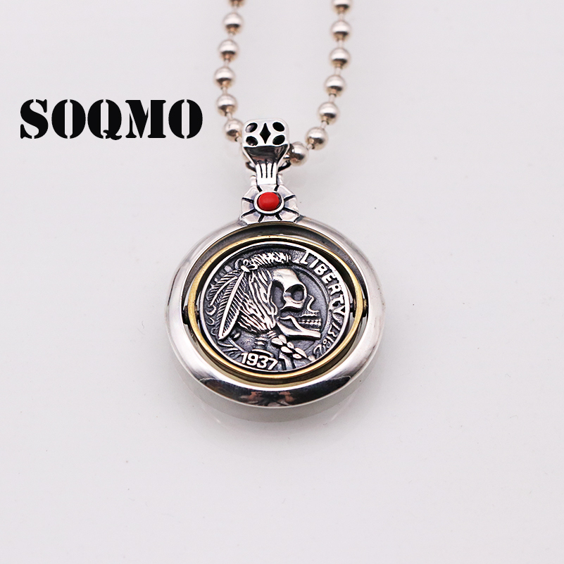 SOQMO 925 Sterling Silver Skull Pendants For Men Rotatable Vintage Punk Style Engraved Indian Head Inlaid Natural Onyx Red Stone skull head style spring car decoration red white