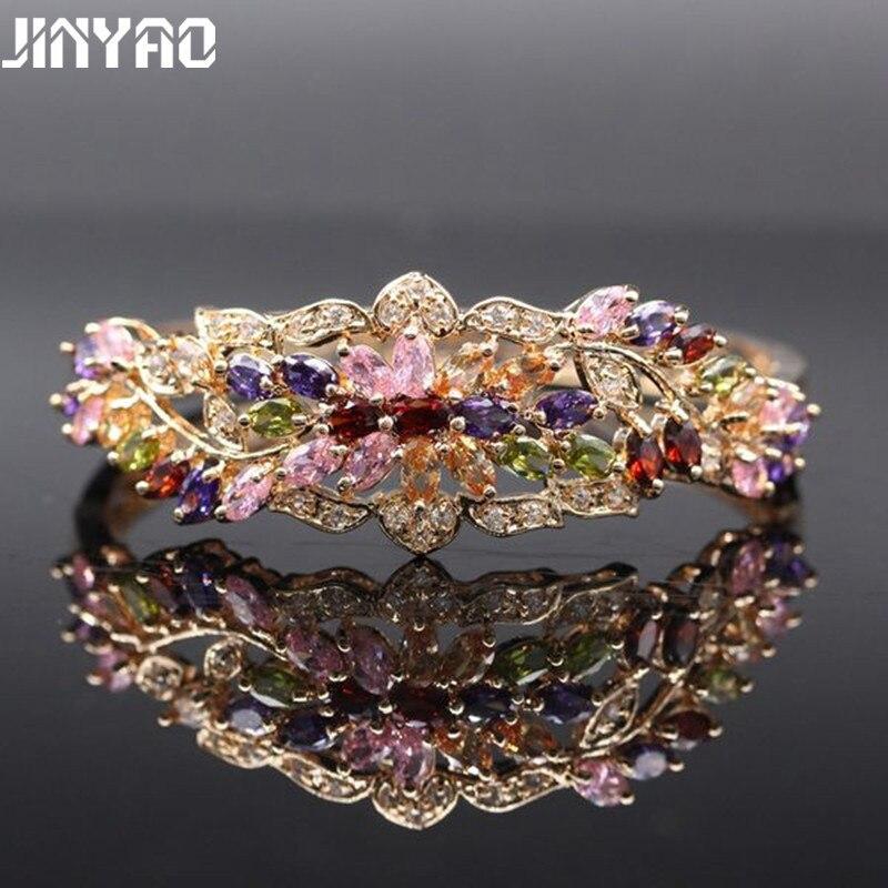 JINYAO magnifique couleur or Champagne coloré cristal AAA Zircon Bracelet Bracelet pour femmes de haute qualité mode bijoux Pulseira
