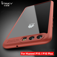 IPaky For Huawei P10 Case Soft Silicone Frame Hard Transparent Back Cover For Huawei P10 Plus