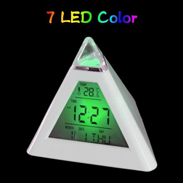 Glowing LED 7 Color Change Digital Alarm Clock and Temperature