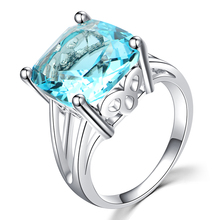 Rings For Women Silver Engagement Big Blue Crystal Stone Zircon Ring For Wedding Gold Color Bridal Bague Size 6 7 8 9 10