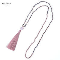 Wholesale Fashion Bohemian Crystal Strand Pendant Necklace With Tassel