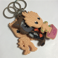 10pcs Lots Guardians Of The Galaxy 2 Baby Groot Keychain Rocket Raccoon Keychains Pendants Figures Car