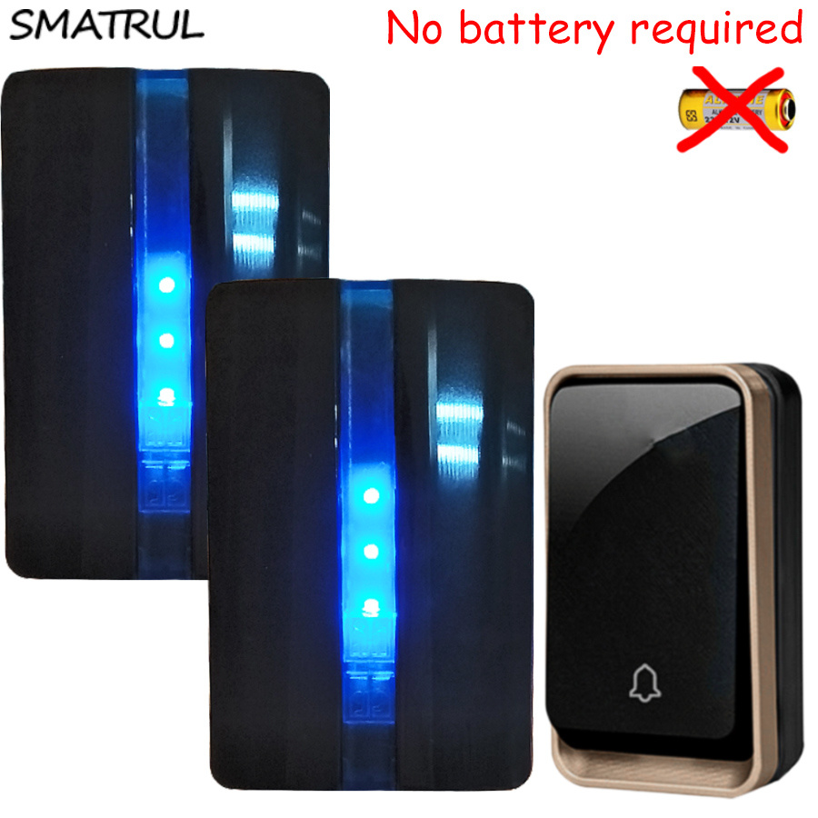 SMATRUL self powered Waterproof Wireless DoorBell no battery EU plug home Door Bell 1 button 2 Receiver 110V 220V LED light Deaf wireless home security door bell call button access control with 1pcs transmitter launcher 1pcs receiver waterproof f3310b