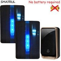 SMATRUL Self Powered Waterproof Wireless DoorBell No Battery EU Plug Home Door Bell 1 Button 2