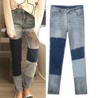 New the early autumn leisure high waist jeans joker color matching patch foot trousers