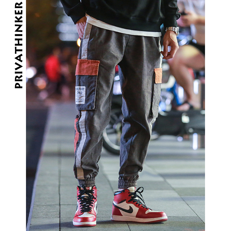 Privathinker Side Striped Cargo Pants Men 2018 Mens Patchwork Black Joggers Pants Man Hiphop Trousers Fashion Casual SweatPants-in Cargo Pants from Men's Clothing