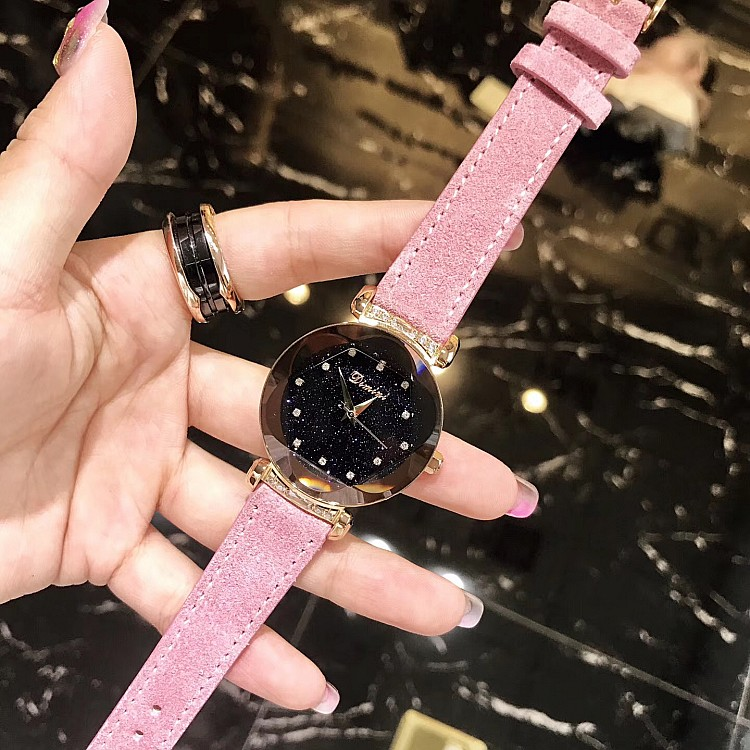 Luxury lady Crystal Women Genuine Leather Watch