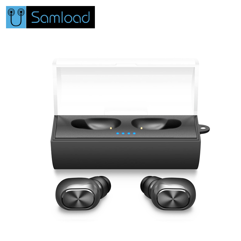 Samload Binaural Bluetooth Earbuds Mini TWS Stereo Wireless Sports Earbuds In-Ear Earphone with Mic+Portable Charging Box
