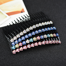 Women head wear metal cute hair clip rhinestone comb flower accessories for women