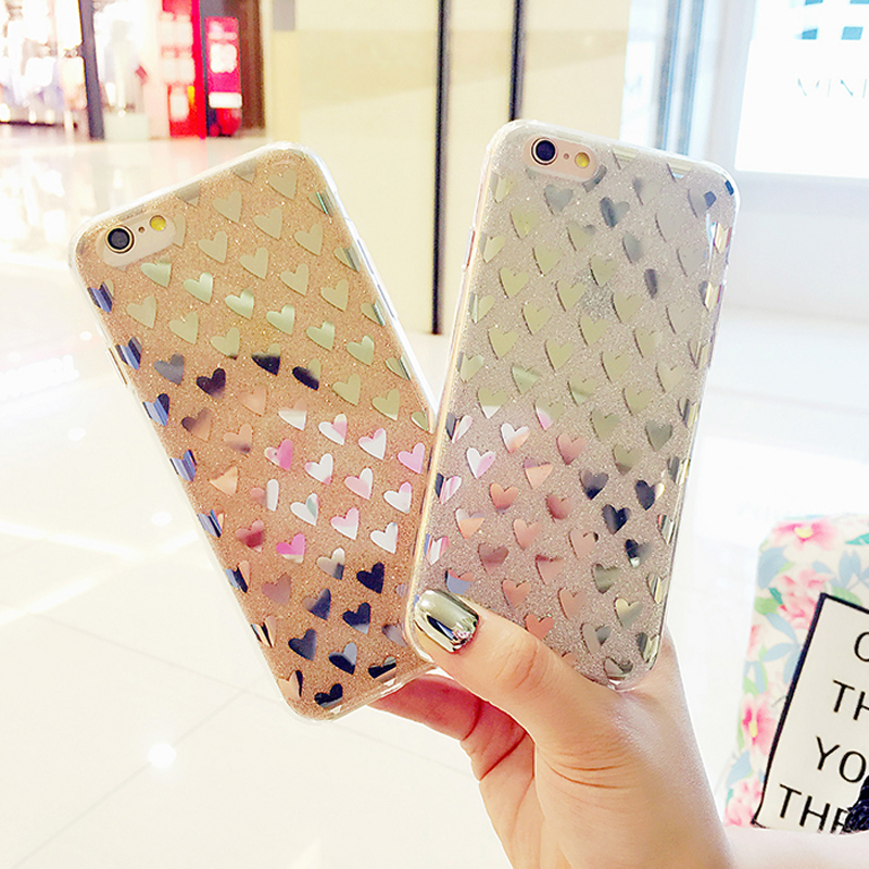 Luxury Shining Bling Pink Love Heart Phone Case Anti-knock TPU Glitter Case for Iphone 7 7plus 6 6s 6Plus 5 5S SE Back Cover