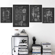 Beer Brewer Mechanical Drawings Wall Art Canvas Painting Nordic Posters And Prints Vintage Wall Pictures For Lounge Bar Club