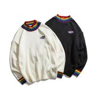 Autumn and winter rainbow turtleneck loose bf wind knit sweater
