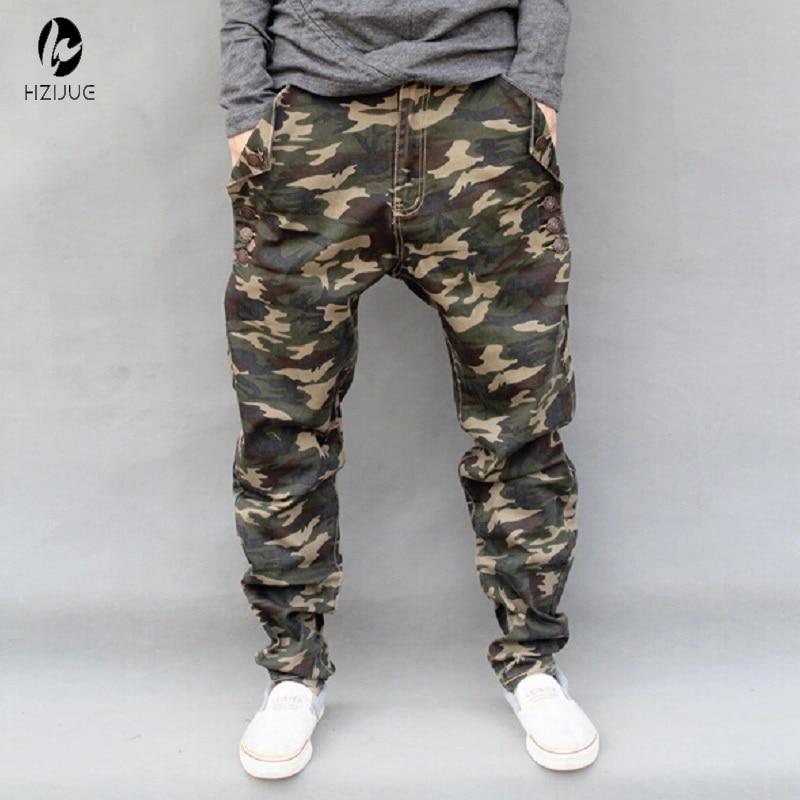 HZIJUE Casual Military Outdoors Emoji Jogger Men Pants Camo harem pants Male plus size taper loose Elastic pants Pencil Jeans