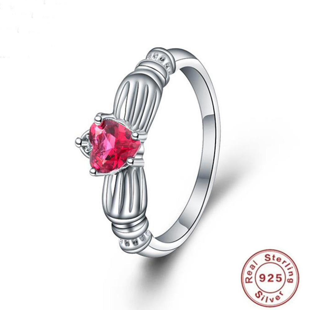 2019 YKNRBPH Hot Sale S925 Sterling Silver Ring Women's Simple Engagement Red Diamond Zircon Ring Fine Jewelry
