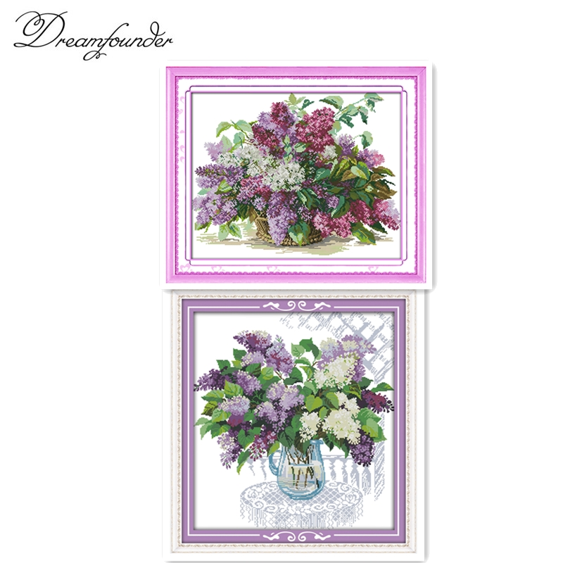 Beautiful Flower Lilac,11CT Pattern Canvas DMC Color 18CT 14CT Cross Stitch Kits,needlework Embroidery DIY Crafts Home Decor