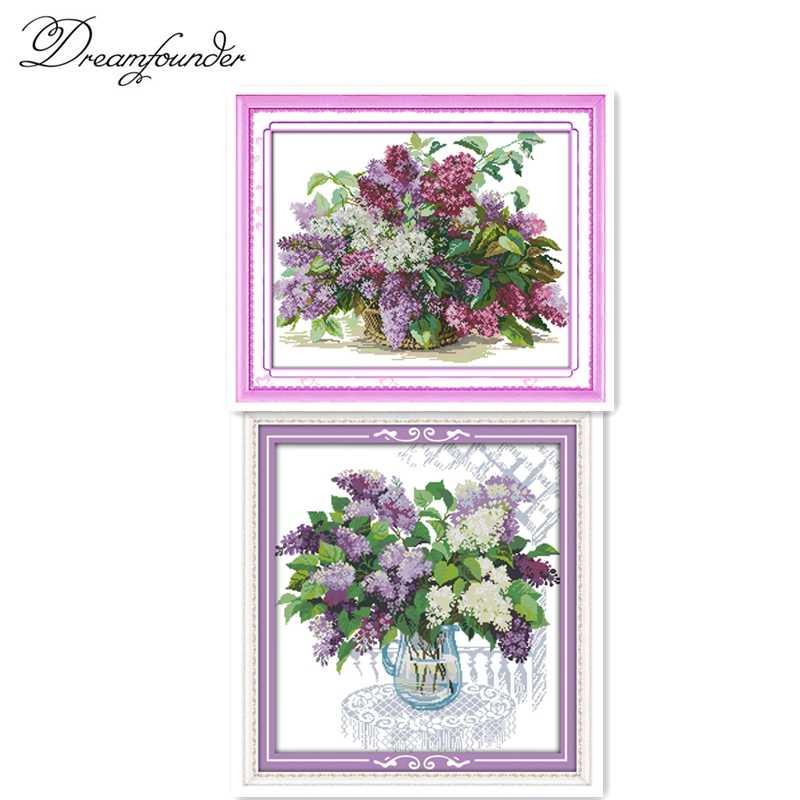 Красивый цветок сиреневый, 11CT шаблон холст DMC цвет 18CT 14CT наборы вышивки крестиком, рукоделие вышивка DIY ремесла домашний декор