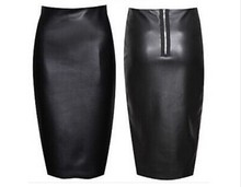 Skirts Midi Womens High Waist Zipper PU Faux Leather Pencil Bodycon Office Skirt Plus Size